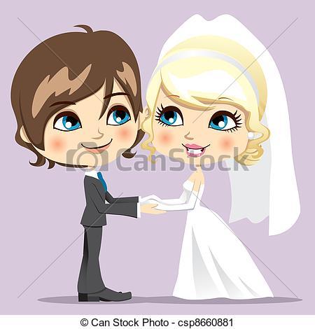 Drawn bride cute smile Married Sweet Vector Wedding