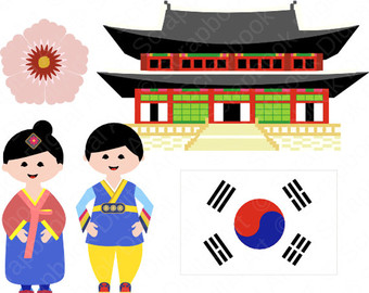 Korean clipart Dress Hanbok Girl Clip Traditional