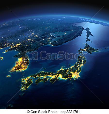 Korea clipart asia Sea moonlit Part Detailed Japanese
