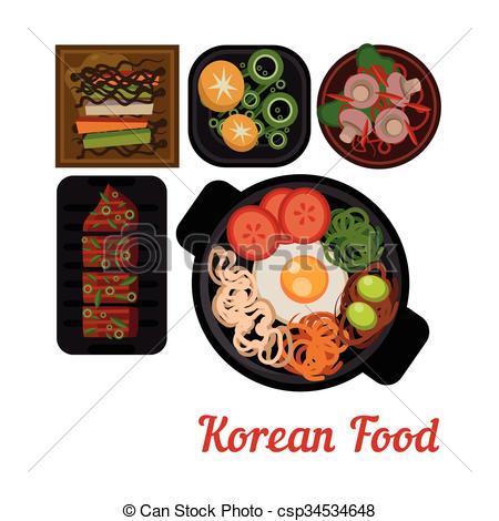 Korean clipart bibimbap Dish of korean Food Vector
