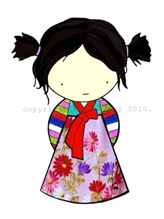 Korea clipart hanbok Pinterest in girl in cute