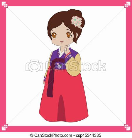 Korea clipart hanbok Korean Hanbok girl Korean