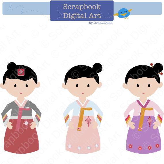 Traditional Costume clipart cute korean Dress Clipart Girl Korean ot