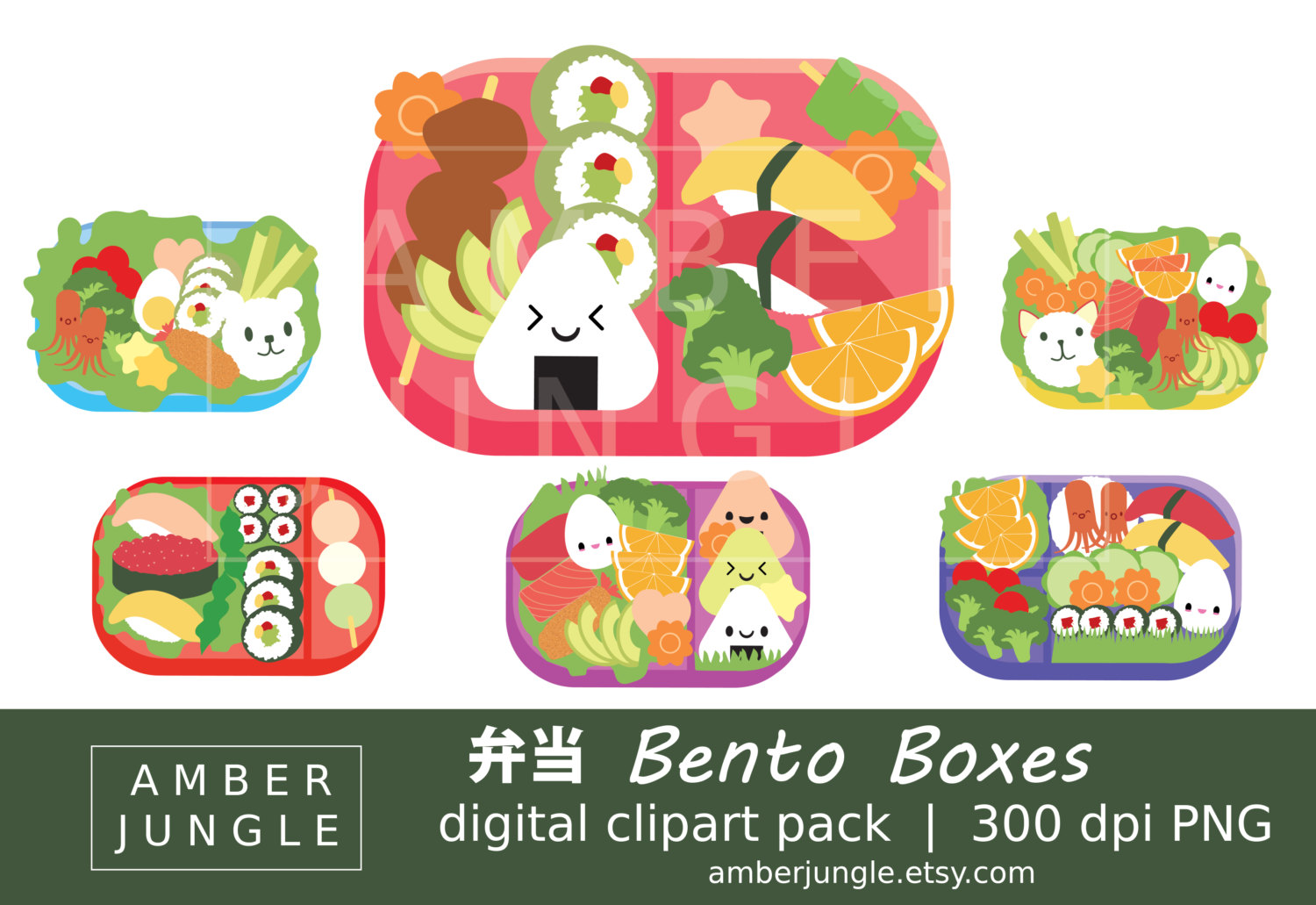 Japanese Food clipart Bento Box Japanese Stickers Clip