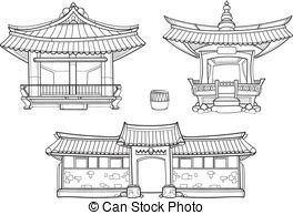Korean clipart castle 014 Korean vector set Stock
