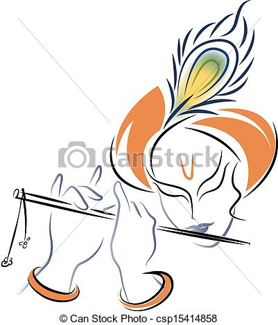 Photos clipart krishna Stock stock playing Flute Vector