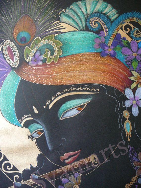 Drawn fluted  459 drawing Krishna on Syamarts