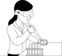 Scientist clipart black and white Girl Clip Outline and in