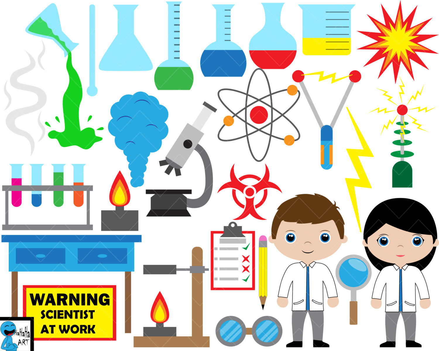 Laboratory clipart carefully Cool Set Clipart scientist This