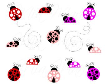 Lady Beetle clipart cute butterfly Ladybug INSTANT Digital Art Ladybug