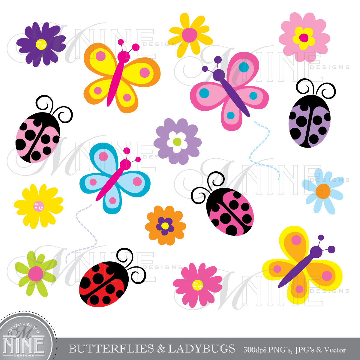 Butterfly clipart ladybug Clip Art Clip Ladybug Spring