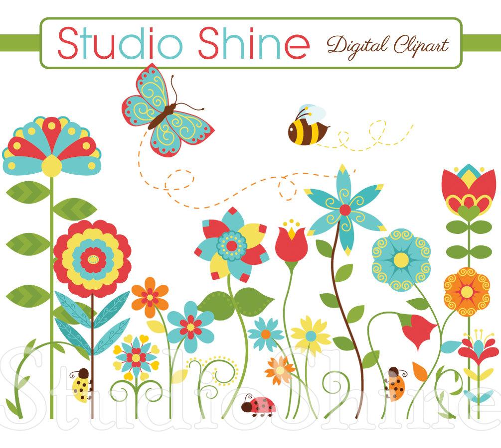 Lady Beetle clipart cute butterfly Flower Flower Happiness Cute Etsy