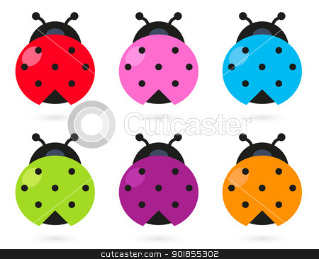 Lady Beetle clipart cute button On white colorful on Cute