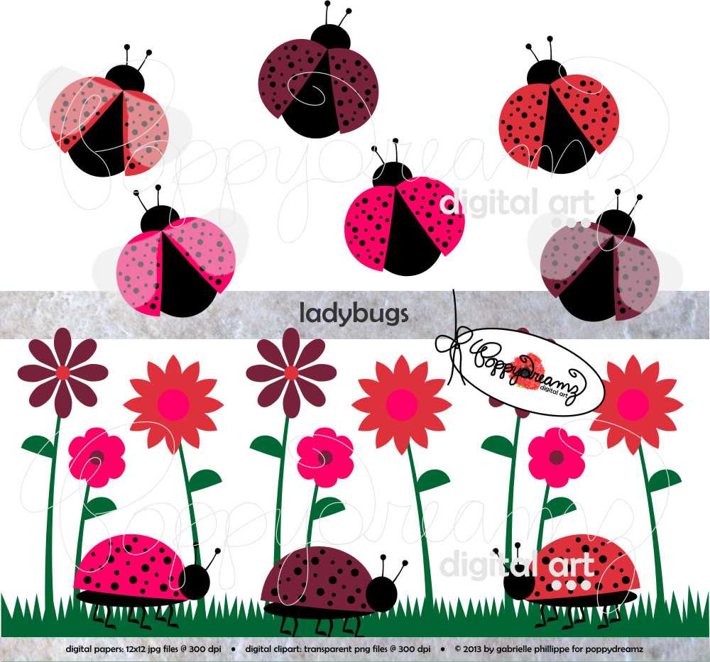 Lady Beetle clipart cute button Dpi Ladybird Ladybug Flower LadyBugs: