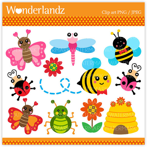 Bee Hive clipart spring Dragonfly spider spring Bugs summer