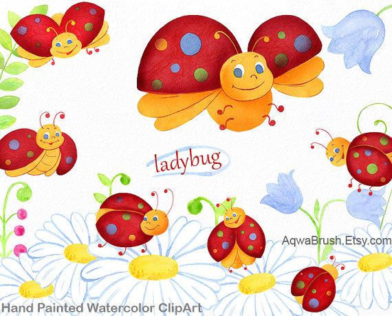 Lady Beetle clipart love bug Cute Ladybug Watercolor diy ladybird