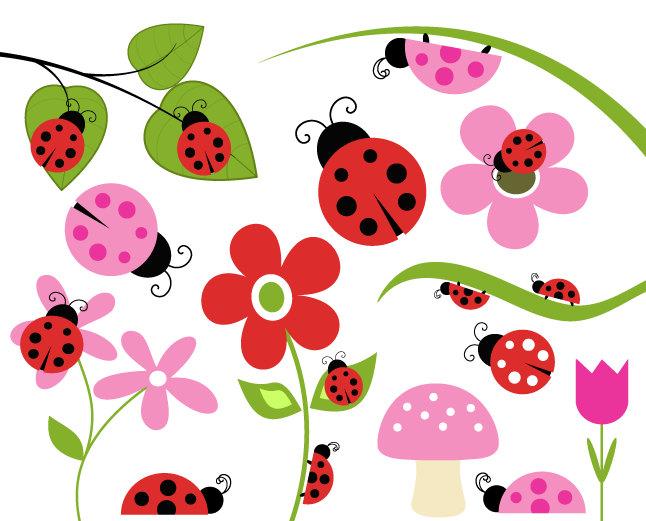 Lady Beetle clipart love bug Flower Leaf Mushroom Bug BUY