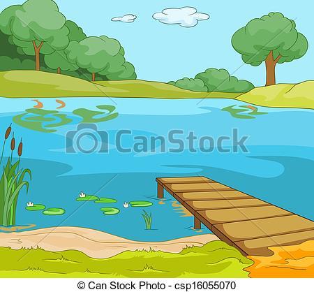 Scenery clipart lake #12
