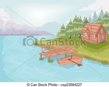 Cabin clipart lake cabin Stock Illustrations Lakeside Cabin the