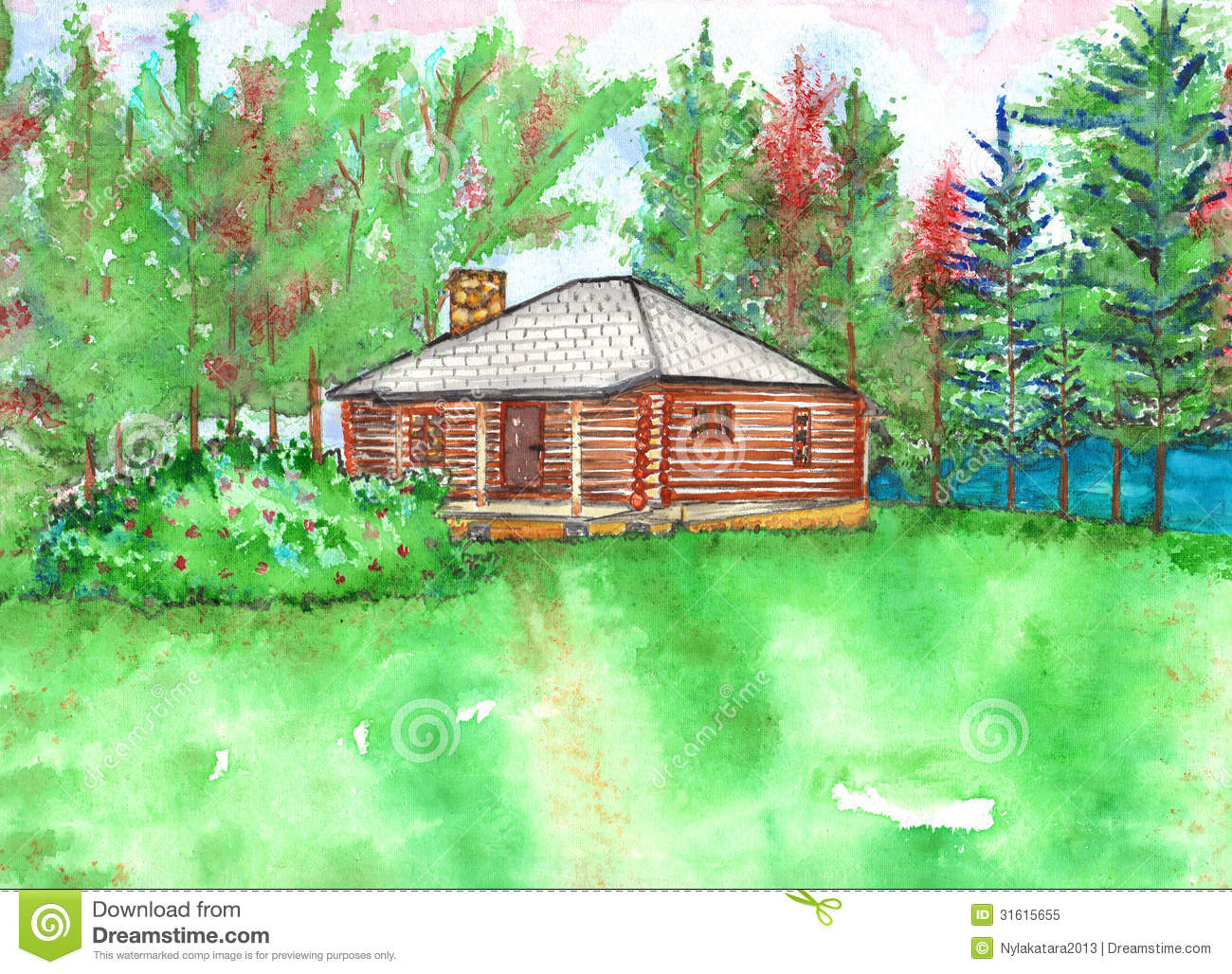 Cottage clipart bamboo hut Vector Cottage lake Stock Cabin