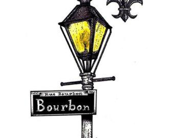 Lamp Post clipart bourbon street Post Art Orleans Sign Lamp