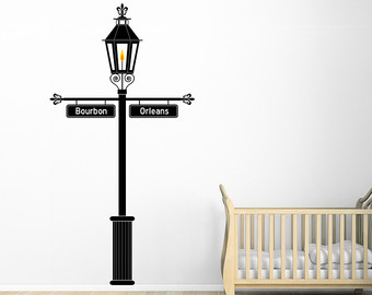Lamp Post clipart french quarter Wall Vinyl Etsy Street Signs