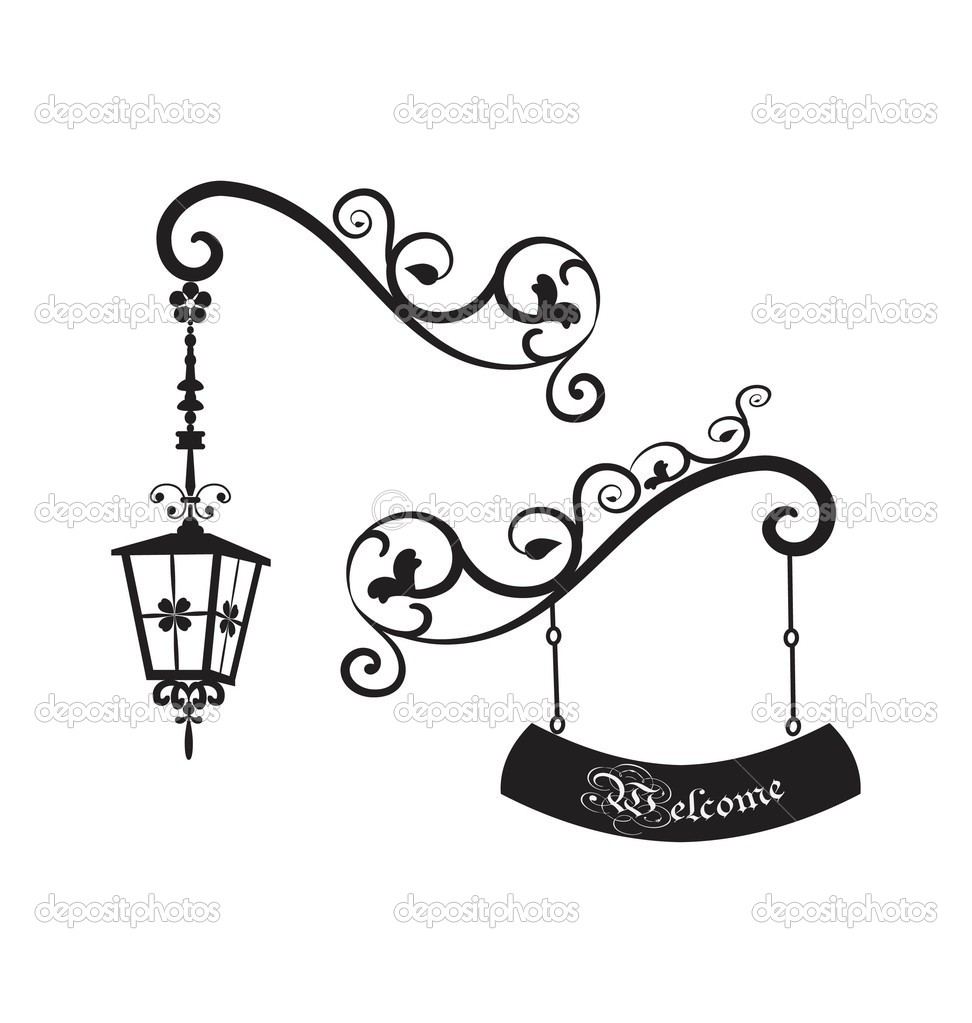 Streetlight clipart vintage lamp Stock Street Stock Free Royalty