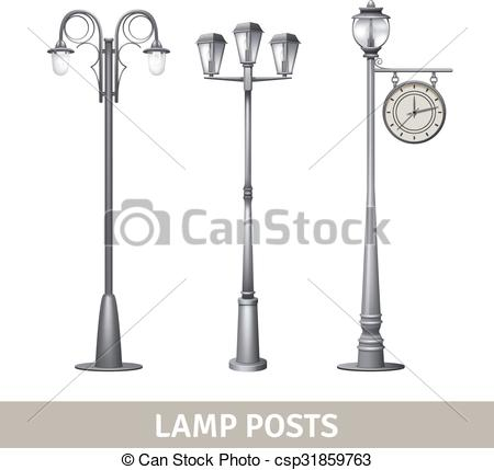 Streetlight clipart electric post Illustration lights Lamp Set Vector