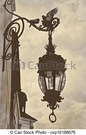 Lamp Post clipart old style Retro clipart old style lamp