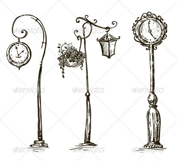 Lamp Post clipart old style Doodles and Doodles and Pin