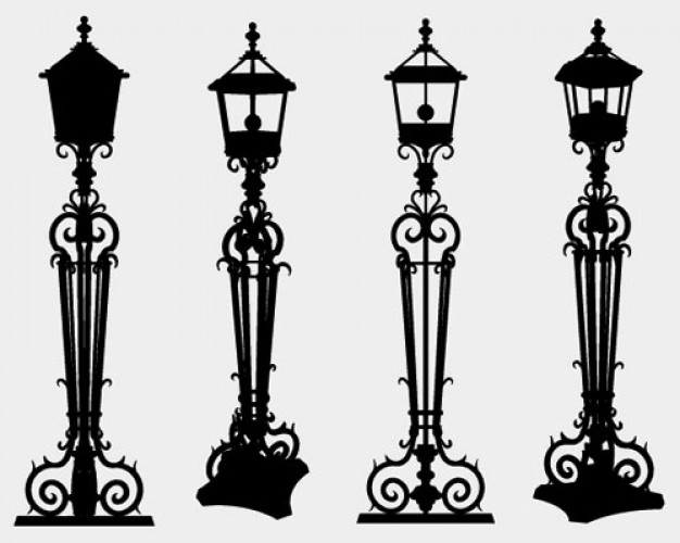 Lamp Post clipart poste Curls with post silhouette lamp
