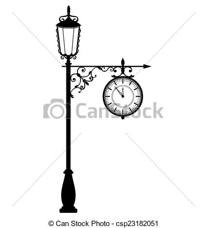 Lamp Post clipart vintage Black clock Vector  with