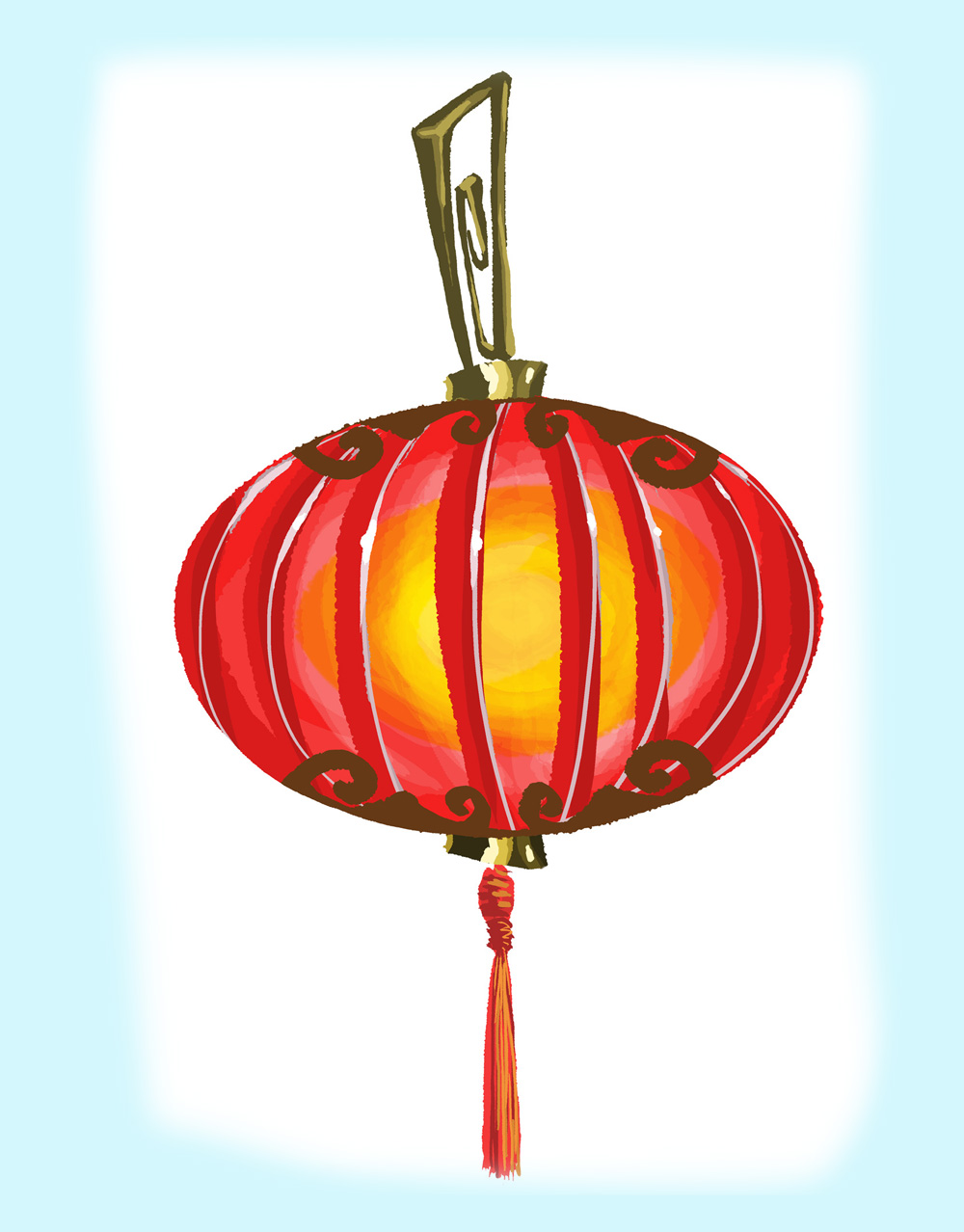 Latern clipart red chinese #7