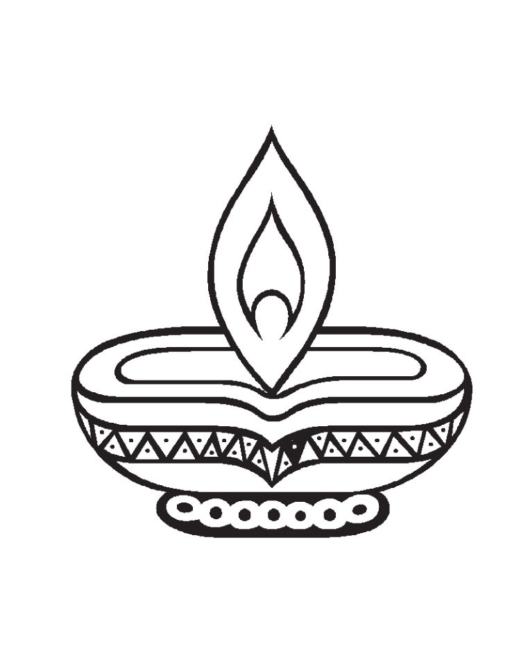 Black & White clipart diwali diya Black diwali Celebrations white (52+)