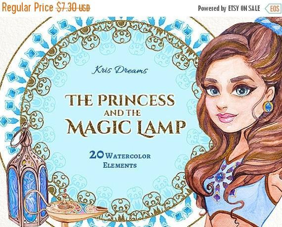 Jasmine clipart lamp Clipart Watercolor SALE Fairytale Lamp