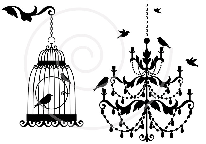 Chanel clipart chandelier Etsy and bird art clip