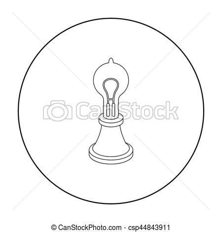 Lamps clipart source light Edison's outline isolated outline Vector