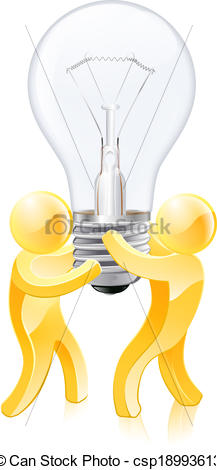 Lamps clipart thinker Clip people Vector concept