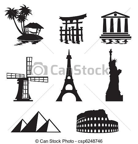 Landmark clipart world tour Art landmarks Vector icons and