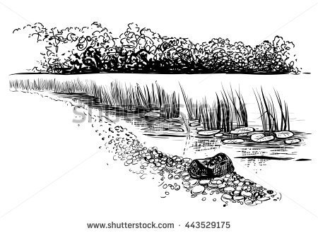 River clipart black and white #3