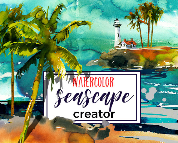 Palm Tree clipart wedding Design from Watercolor Coastal landscape