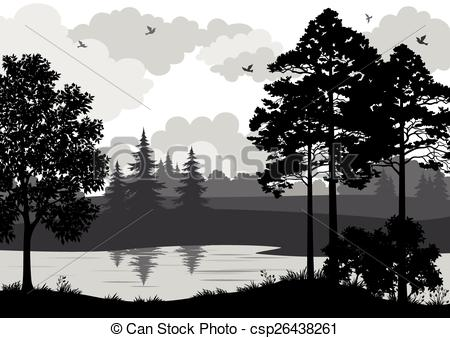 River clipart mountain border Trees Clip and of River