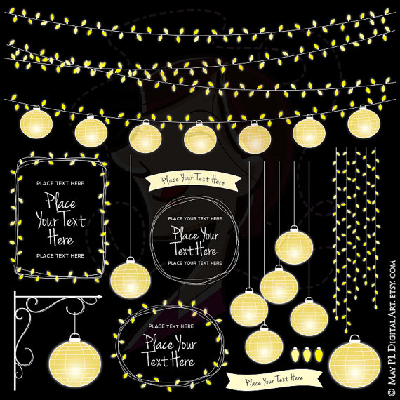 Latern clipart banner Digital 10716 Date Wedding Lantern