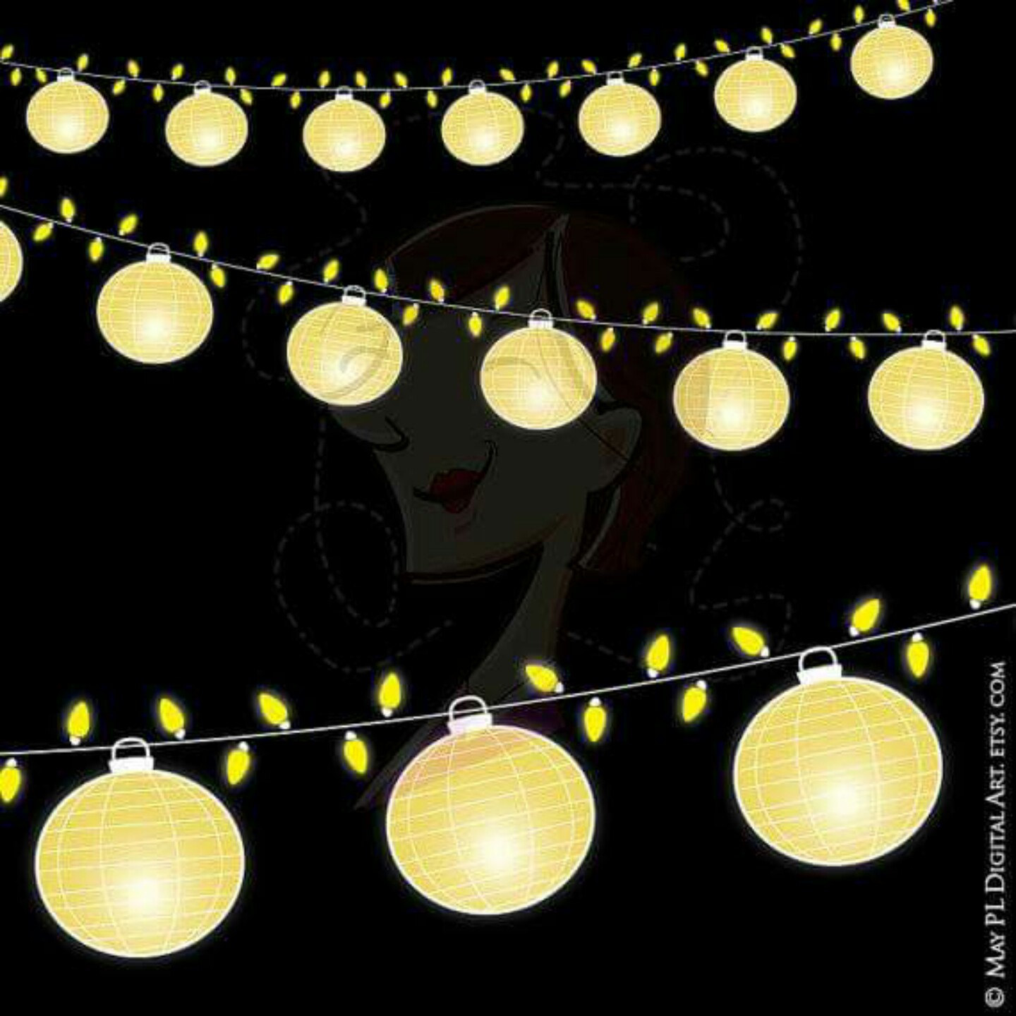Latern clipart banner Digital 10716 Date Wedding Glowing
