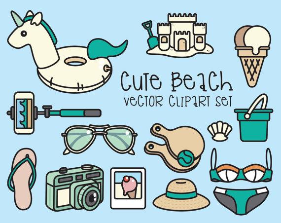 Lantern clipart beach Instant Kawaii Day Beach Vector