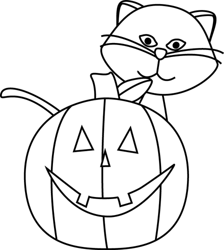Black Cat clipart jack o lantern Clip  White and and