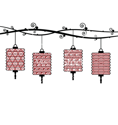 Paper Lantern clipart border Vector Chinese border  lanterns