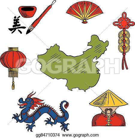 Culture clipart chinese Dragon coins sketched Vector Chinese