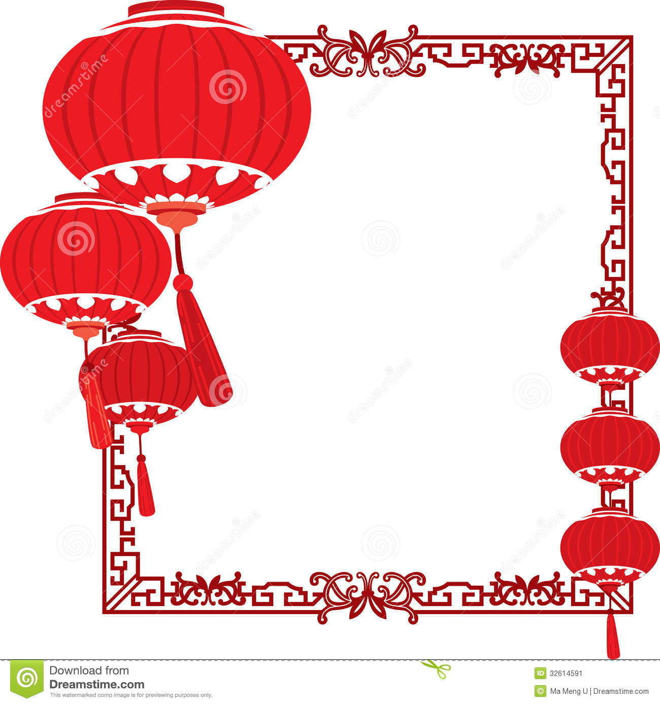 China clipart chinese frame Decorations chinese red red Meng
