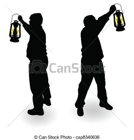 Latern clipart hand holding Of in silhouette black Clip